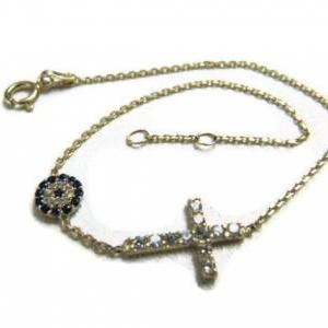 14K SOLID yellow GOLD cross evil ey..